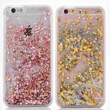 Hot For iPhone 5S 6 6S 7 Plus 5C  Back Cover Glitter Dynamic Liquid Diamond Quicksand Hard Transparent Phone Case Capa Shell