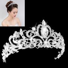 1pcs Wedding Bridal Crystal Tiara Crowns Princess Queen Pageant Prom Rhinestone Veil Tiara Headband Wedding Hair Accessory