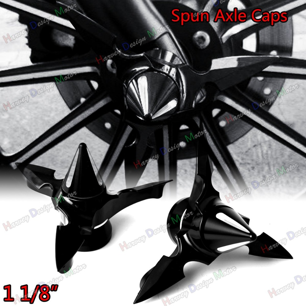 Black Spun Blade Spinning Axle Caps For Harley 1 1/8 Touring 2008-2017 Street Glide Dyna Sportster 883 1200 <br>