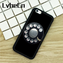 LvheCn TPU Phone Cases For iPhone 6 6S 7 8 Plus X 5 5S 5C SE 4 4S ipod touch 4 5 6 Cover OLD PAYPHONE DIAL UP BLACK VINTAGE(China)