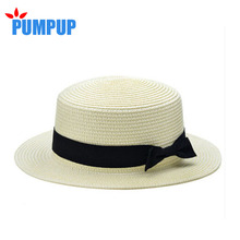2016 Fashion Sun Hat For Women Classic Panama Cap Fodora Chic Summer Spring Beach Visor Brief Solid Straw Hat Brim Headwear