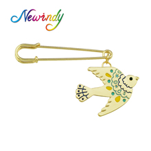 Newindy High Quality Jewelry Gold-Color with Pink Blue Enamel Bird Brooches for Fashion Lady Women Accessories