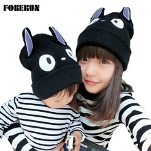 2016 Big Totoro Caps for Children Cartoon OX Horn Winter Hats for Boys Warm Knitted Cap for Girl Kids Beanies Hat with Cat Ears