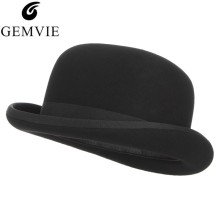 GEMVIE Bowler Hat Costume Magician-Cap Fedora Felt Derby Party Formal Black Women 100%Wool