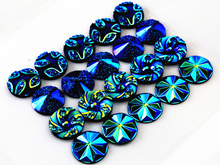 New Fashion 40pcs 12mm Mix Blue AB Colors Flower Style Flat back Resin Cabochons Cameo