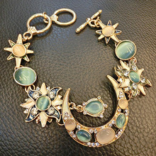 H:HYDE Gold Color Crystal Rhinestone Moon Sunflower Chain Bracelet For Women Opal Bracelet Nice Shipping