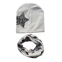 Spring Autumn Winter Star Print Soft Cotton Hats + Scarves Sets Toddler Kids Clothing Accessories