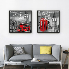vintage style scenery London black and white painting picture red telephone booth red bus home decor Canvas Painting