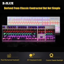 E-3LUE K753 Colorful Light USB 2.0 Ergonomics Humanized Design Wired Mechanical Keyboard For Gaming 104 Key Blue Switch PK CK104