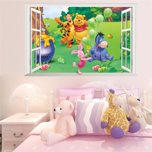 Cartoon Winnie Pooh Wall Stickers For Kids Children Room Decor 3d Window Bear Tiger Height Measure Nursery Wall Decals(China)