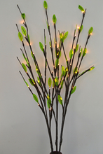 "LED Battery Branch Light 40"" 60LED with Green Leaves Decoration 3 sub-branches Vase Flower decoration branch twig light"