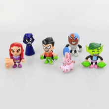 6pcs/set 5cm Teen Titans Go Robin Beast Boy Raven Cyborg 5cm Action Figures Anime Cartoon Toys for Kids Gift No box(China)