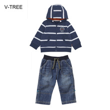 Spring and autumn baby boy cloth  Baby suit coat Boy striped zipper hooded jacket + denim pants suit