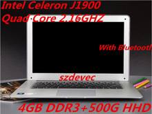 14.1 Inch PC Laptop Computer Intel Celeron J1900 Dual Core 2.0GHz 4GB DDR3 500GB HDD Windows7/8 Slim Notebook Wifi HDMI USB 3.0
