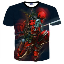 Mr.1991INC&Miss.GO Brand Cartoon Deadpool X-men Black Man Casual T-shirt Cotton Printed Short-sleeved T Shirt Tops Men Clothing