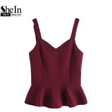 SheIn Princess Seam Lace Up Back Peplum Bustier Top Summer Sleeveless V Neck Cami Tops Women Beach Wear Cute Camisole