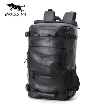CROSS OX Men's Multifunctional backpacks Fashion Luggage Bags For Men Big Capacity Hike Bag PU Leather Travel Bag BK035M(China)