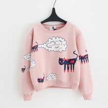 2017 New Spring Autumn Women Pink Sweatshirt Kawaii Female Cat Printed Tops Loose Jumper Casual Thick Velvet Cartoon Pullovers