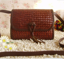 26x18CM  worn mat  women bag Rural amorous taste  , cane  and bamboo  woven straw Bag A2382