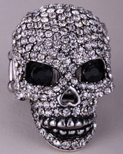 Skull skeleton brooch pin women girls biker bling jewelry gifts antique gold silver color W crystal BD07 wholesale dropship(China)