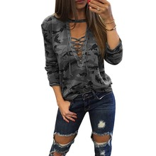 LASPERAL 2017 Long Sleeve Lace UpT-Shirt Women Camouflage Print Deep V Neck Sexy Tee Tops Femme Bandage Casual Tshirt Tops(China)