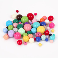 6/8/10/12/14/16mm Mixed color Acrylic Solid Bubblegum Bead for Kids Chunky Beads Necklace Fashion Jewelry(China)