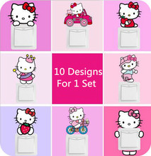 (10 Sets/Lot 10 Pcs For 1 Set) Cartoon Hello Kitty Wall Stickers Home Decor For Switch Refrigerator Toilet(China)