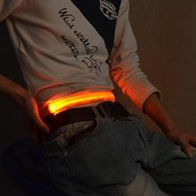 Hot Fashion LED Light Bulb Flashing Waistband Safety Reflective Belt Bicycle Jogging Running Waist Band(China)