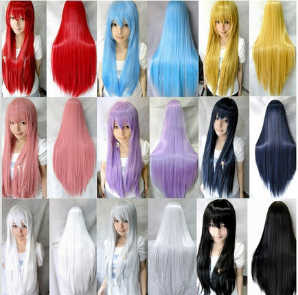 15 Colors Women Men Boy Heat Resistant Pink Black Blue Red Yellow White Blonde Purple Straight Cosplay Wigs 70cm Free Shipping<br><br>Aliexpress