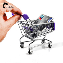 FHEAL Fashion Mini Supermarket Style Hand Trolleys Shopping Cart Desktop Decoration Storage Phone Holder Baby Toy