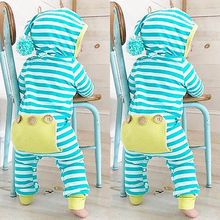 New Year Newborn baby rompers Winter Cotton blend Baby boy clothes Jumpsuit costume Baby Girl costume Sky blue Striped  Rompers