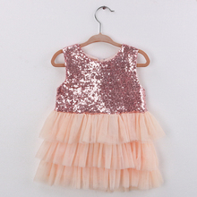 Sun Moon Kids Baby Sequined Girls Dress 2017 Summer Sleeveless Bow Girls Dress Party Birthday Girls Dress Princess Ball Gown