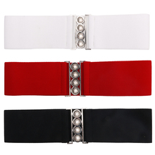 Fashion Women Cinch Buckle Wide Stretch Elastic Waist Belt Corset Waistband Girls Buckle Elastic Belt Red & White