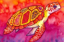 animal turtle patterns sea colorful abstract watercolor paintings DW12 living room home wall modern art decor wood frame poster