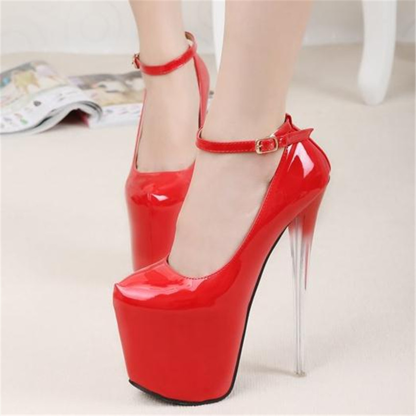 Ever after high 2016 women sexy red plus size round closed toe on the platform 20 cm extreme high heels prom shoes china pumps 8<br>