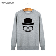 Hat And Glasses Funny Printing Mens Hoodies Hip-Hop Style Sweatshirts Pullover Winter New Fashion O-Neck Clothing Tops Plus Size
