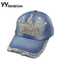 Rhinestones Bling adjustable Blue Jean Caps 2015 Fashion Denim Snapback Casual Hats Imperial Crown Diamond Baseball Caps YY0224