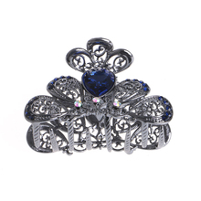 2017 Lady Women Beautiful Alloy Bronze Multi Rhinestone Hair Clip Claw Hairpin