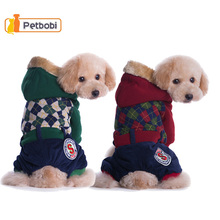 New Winter Dog Apparel Pet Jacket Coat Parkas Warm Plaid British Style Teddy Chihuahua Puppy Cotton-Padded  Pet Clothes Supplies