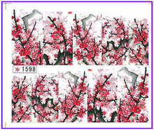 1X  Nail Sticker Plum Flower Water Transfers Stickers Nail Decals Stickers Water Decal Opp Sleeve Packing SY1598