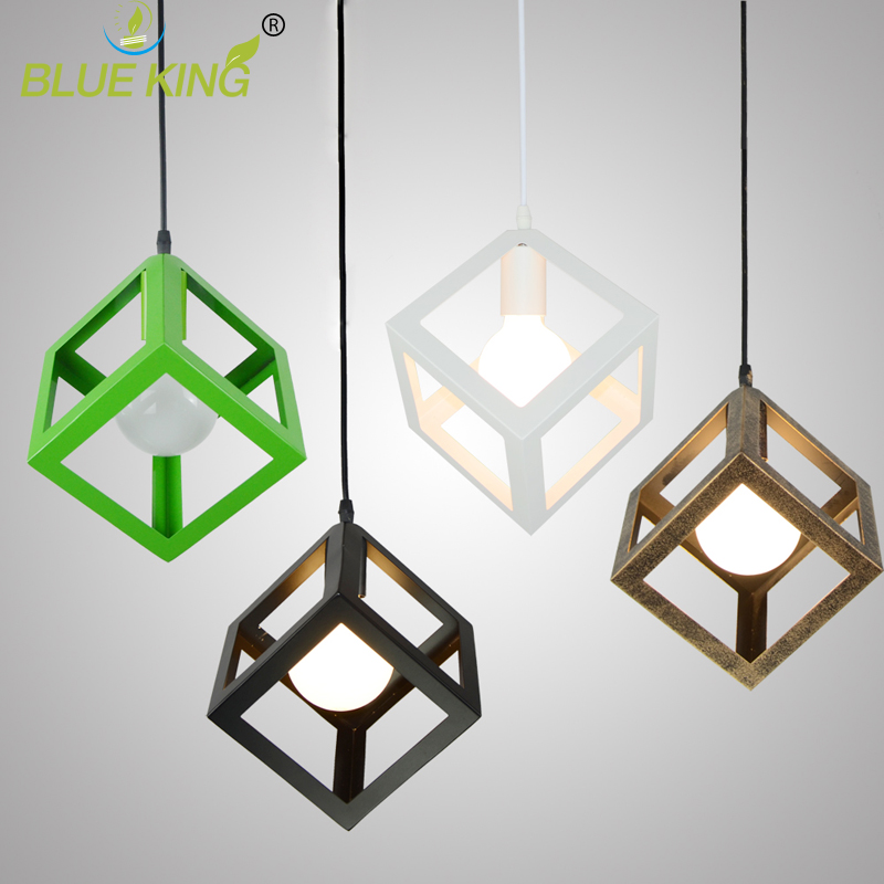 Original Milky Bulb  Nordic creative American style square Lamp Simple geometric iron Pendant light<br>