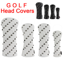 Golf Head Cover for Driver Fairways #3 #5 Hybrids PU Leather Rivets Golf Club Head Protector White Black