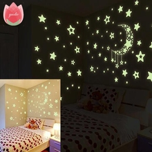 100Pcs Big 3.8cm Kids Bedroom Energy Storage Fluorescent Glow In The Dark Stars Wall Stickers Baby Rooms Home Party Decoration