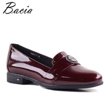 Bacia 4 color Wine Red Flats Natural Cow Leather Casual Simple Shoes Autumn Loafers Slip On Women's Flat Shoes Moccasins SB064