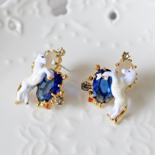 Les Nereides Fashion Enamel Blue Jewel Horse Ear Stud Earrings Party Jewelries For Girl Accessories Top Quality Freeshipping