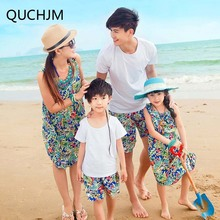 2017 Baby Family Clothing Attire For A Family Of Four Suits Of Mother And Daughter Summer Korean Bohemia Beach Cotton Long Dress(China)