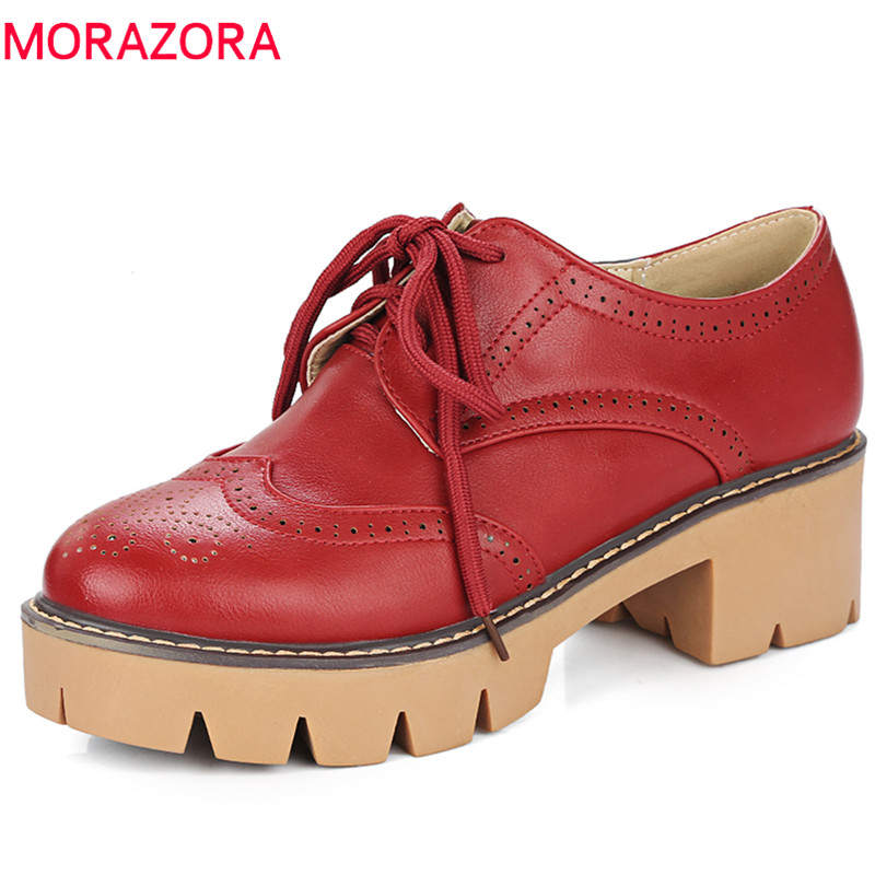 MORAZORA Three colors shoes women med heels platform shoes four seasons oxford single shoes lace-up fashion contracted pumps<br>