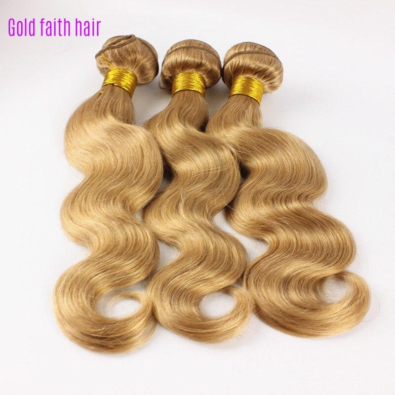 Honey Blonde 27# Color Weave Bundles 3pcs/Lot Body Wave Brazilian Human Virgin Hair 7A Grade Remy Hair Weft Extension Trendy<br><br>Aliexpress
