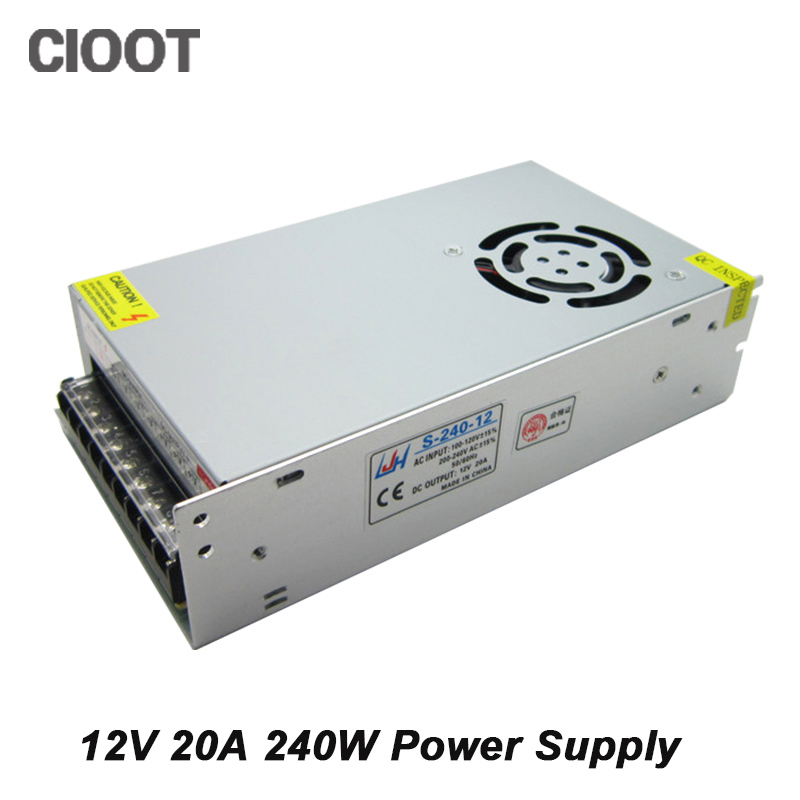 Free Shipping 12V Power Supply 240W Switch Led Supply 20A AC 100-240V Input to DC 12V Power Transformer<br>