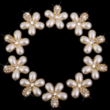 New Hot Sale Phenovo Flower Faux Pearl Rhinestone Buttons Fit Sewing & Scrapbooking 10Pcs Sewing Suppies Free Shipping(China)